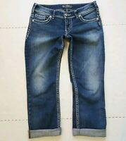 Silver Jeans Womens Suki Capri Cuffed Crop Stretch Mid Rise Blue 29 W31 MSRP $78