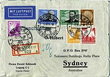 1936 Commercial Airmail Leipzig-Sydney through KLM/Imperial Airways Service