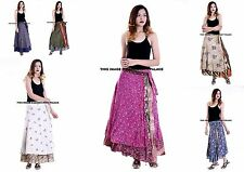 5 PC Mid-Calf Length Vintage Silk Sari Magic wrap skirts dress Wholesale Lot