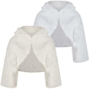 Girls ¾ Sleeve Bridesmaid Faux Fur Jacket Shrug Bolero Wrap Tippet 1-14Y