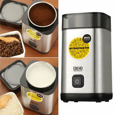 EBENO  Electric Coffee Grinder Whole Bean Nut Spice Blender Matte Silver New.