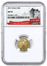 2017 1/10 oz. Gold American Eagle $5 NGC MS70 255th Anniversary SKU45874