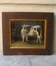Fine 19th century portrait of a bull in his stable. 1860. Danish school.