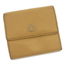 Chanel Wallet Purse Coco Button Beige Silver Woman Authentic Used Y661
