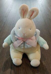 "RARE Vintage EDEN Wind Up Musical Bunny Rabbit Plush 12"" Yellow, Green, & Blue"