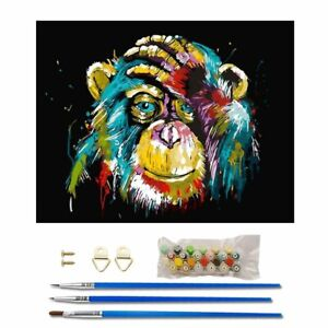 Frameless DIY Oil Painting Colorful Orangutan Paint By Numbers for Beginners FW