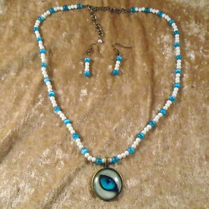 """Turquoise & White Simulated Pearl Necklace W/ Cat's Eye Cabochon Pendant 20""""-23"""""""
