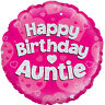 Happy Birthday Auntie Pink Holographic 18 Inch Foil Balloon