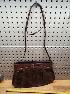 Designer J. RENEE Vintage Bag Clutch Handbag Purse Brown Snakeskin