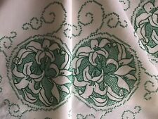 BEAUTIFUL VINTAGE LINEN HAND EMBROIDERED TABLECLOTH~LOVELY CALLA LILIES