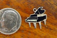 Vintage sterling silver BABY GRAND PIANO MUSIC ENAMEL BRACELET charm #2