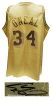 Shaquille O'Neal Signed LA Lakers Mitchell & Ness Gold NBA Basketball Jersey- SS