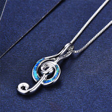 musical note Necklace Pendant For Women Silver Plated Lab blue Fire Opal Cz