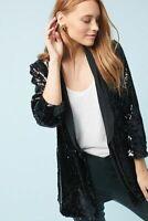 NWT Anthropologie Cartonnier Sequined Blazer in Noir Black Sparkle Jacket S $168