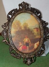 Vintage Brass Italian Picture Photo Frame Victorian Miniature Print