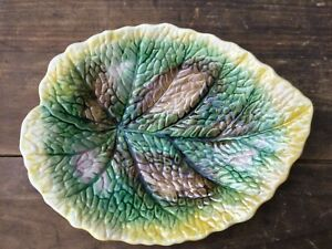 Antique Majolica 1890-1900 Leaf bowl 10 inches Perfect condition signed