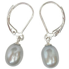 Cultured Freshwater 7-8mm Silver Grey Pearl Leverback Drop Earrings