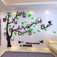 Family Silver Tree Wall Decals 3D DIY Photo Frame Wall Stickers Mural Home Decor