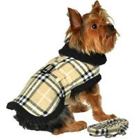 Doggie Design Brown Plaid Classic Dog Coat Harness with Matching Leash XS-2XL
