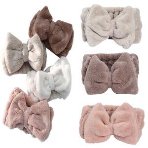 Women Coral Fleece Bow Headband Wash Face Makeup Elastic Hair Band Wrap Hair Tie