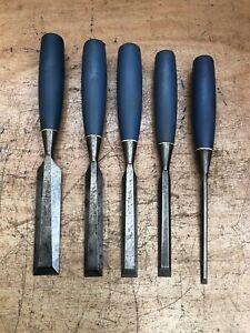 5 x Vintage Stanley Bevel Edge Chisels 25mm, 18mm, 16mm, 13mm, 6mm