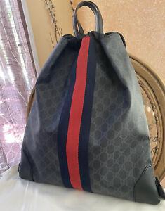 Classy!* Gucci GG Supreme Drawstring Backpack, Bag, Shoulder Bag Unisex NWT