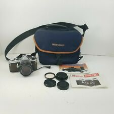 Pentax ME SE 35mm SLR Camera Bundle w/ 50mm 1:2, Caps, Instructions, Bag, Tested