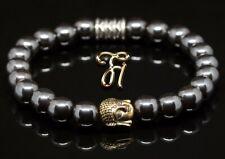 Hématite / Bracelet de Perles Tête Bouddha or 8mm