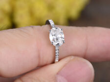 18K Solid White Gold Size 5 6 1.62 Ct Oval Cut Solitaire Diamond Engagement Ring