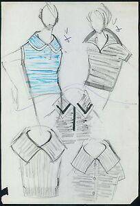 PIERRE BALMAIN Original drawing old Fashion Scketch ART COUTURE Paris unsign 10