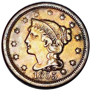 1855 Braided Hair Large Cent, Strong Defining Features 1c Copper Coin No Res!