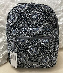 Vera Bradley Iconic Leighton Backpack, Small, Charcoal Medallion, NEW