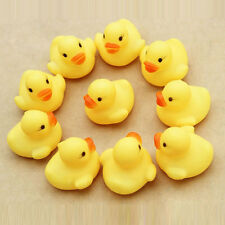 Baby Kids Children Bath Shower Toys Cute Rubber Squeaky Duck Ducky Yellow 10 pcs