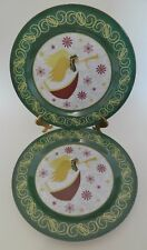 New listing Melamine Ware Two Dinner Plates Christmas Decor Angel with Horn Design