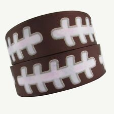 """5 yds 1 1/2"""" FOOTBALL LACES GROSGRAIN RIBBON 4 HAIRBOW BOWS BELTS CHEER"""