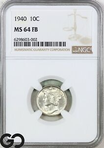 1940 MS64 Mercury Dime, Full Split Bands, NGC Mint State 64 FSB ** Sharp!