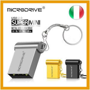 PENDRIVE USB 2.0 16 32 64 128 GB CHIAVETTA SUPER MINI METALLO PENNA PEN DRIVE