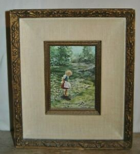 Original PHIL PRENTICE  Painting of Child in Meadow Beautifully Framed  & Signed
