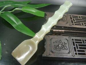 Antique Chinese Nephrite Celadon Hetian OLD Jade-Tea spoon Statue/Pendant