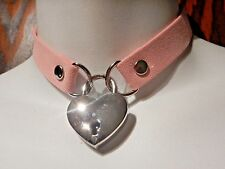 PINK HEART REAL PADLOCK CHOKER faux suede collar vegan silver skeleton keys 6C