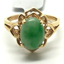 18k solid yellow gold heart style natural jade ring