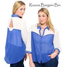 New Ladies Blue & White Button Front Top Plus Size 16/2XL (9745)KC