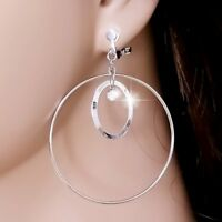 "#E122C CLIP ON 2"" BIG Hoop Earrings Dangle Polished Oval Crystal Silver Tone New"