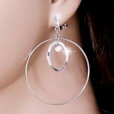 "#E122C CLIP ON 2"" BIG Hoop Earrings Dangle Polished Oval Crystal Silver Tone New"