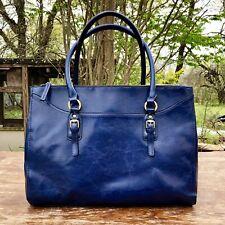 """Vintage Unbranded """"Genuine Leather"""" Dark Blue Shoulder Bag Tote Purse"""
