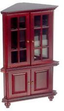 Dolls House Mahogany Corner China Cabinet Miniature Dining Room Furniture