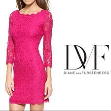 BNWT DVF Diane Von Furstenberg Gardenia Pink Lace Zarita Dress US 4 UK 8