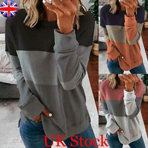 Womens Ladies Patchwork Sweatshirt Tops Long Sleeve Loose Pullover Blouse Shirt