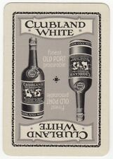 Playing Cards 1 Single Swap Card Old Wide CLUBLAND WHITE PORT Bottle ALCOHOL Ad