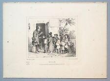 """Lithographie originale de Charlet, """"L'école"""", vers 1830"""